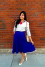 Blue-forever-21-shirt-blue-midi-vintage-skirt-red-flower-pin-h-m-accessories