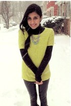 statement Claires necklace - chartreuse neon wool Gap sweater