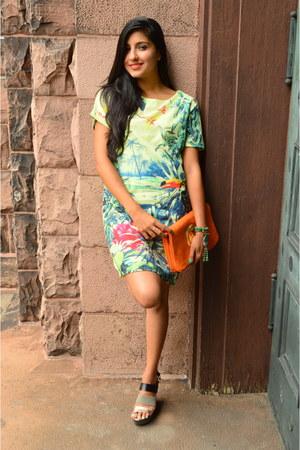 orange tory burch purse - H&M dress - Target wedges