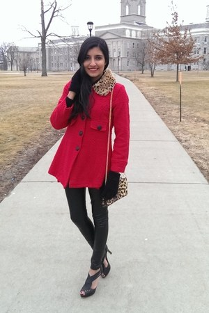 red leopard collar thrifted coat - black faux leather Forever 21 leggings
