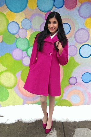 hot pink thrifted Express coat - hot pink suede Payless pumps