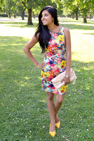 yellow Payless shoes - floral print Papaya clothing dress