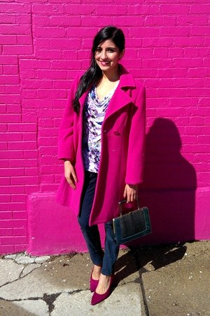 hot pink thrifted Express coat - forest green vintage bag