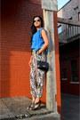 Black-quilted-amazon-bag-black-nine-west-heels-blue-forever-21-blouse