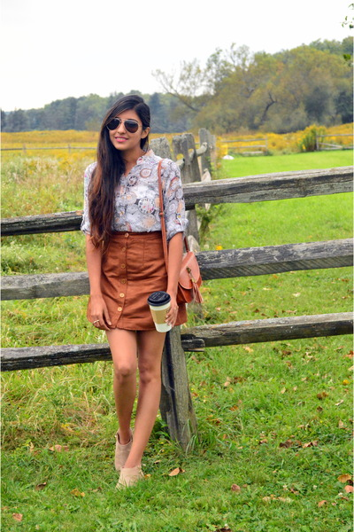 Tawny-suede-rue-21-skirt