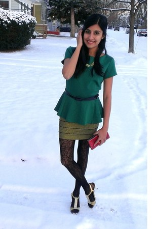 gold Forever 21 skirt - dark green peplum JCPenney top