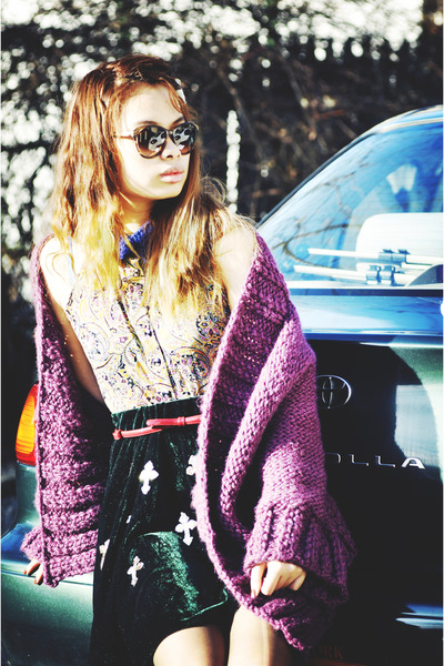 dark brown sunglasses - red belt - amethyst cardigan - green skirt