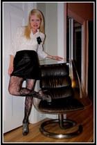 white camaieu shirt - black camaieu skirt