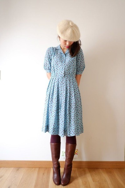 light blue dotted a-line thrifted dress