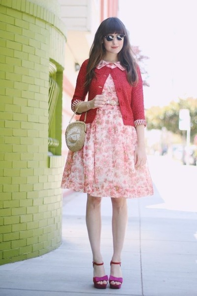 coral a- line floral unknown brand dress