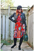 black Zara boots - red Anthropologie dress - black H&M jacket
