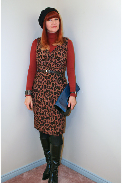 tawny H&M sweater - black TJ Maxx boots - dark brown Ralph Lauren dress