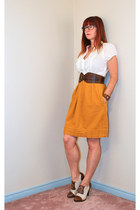 brown brogues sears shoes - gold Anthropologie dress - dark brown H&M belt