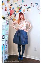 eggshell thrifted Zara blouse - navy Joe Fresh skirt