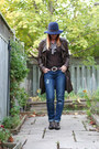 Navy-garage-jeans-navy-gap-hat-dark-brown-danier-jacket