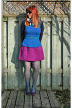 magenta Anthropologie skirt - navy Gap sweater - blue Zara top