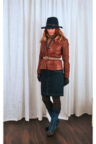 blue blue TJ Maxx boots - navy blue felt Gap hat - bronze leather JCrew jacket