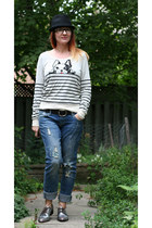 Anthropologie sweater - brogues Anthropologie shoes - Ethanol jeans - H&M hat