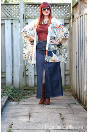 eggshell kimono Anthropologie jacket - navy maxi denim thrifted skirt