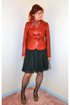black Ebay skirt - tawny danier jacket - brick red Mod Cloth scarf