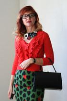 green Anthropologie skirt - black vintage bag - brick red handmade necklace