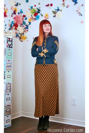 navy army thrifted jacket - light orange plaid thrifted vintage skirt