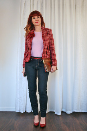 pink cashmere Joe Fresh sweater - navy TJ Maxx jeans