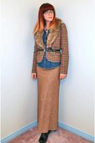 tan vintage skirt - black Miss Mooz boots - brown modcloth jacket