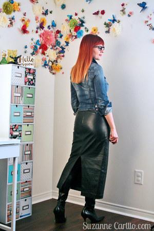 black black leather thrifted skirt - navy jean jacket H&M jacket