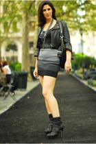 jacket - necklace - skirt - boots - belt