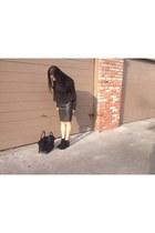 black boots - black bag - black H&M skirt - black crop too Alexander Wang top