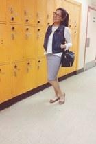 blue stripped Old Navy skirt - black H&M bag - white lace H&M blouse
