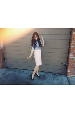 light pink Forever 21 skirt - white h&m divided blouse - black H&M heels
