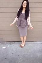 amethyst shirt - heather gray Forever 21 skirt - peach cardigan
