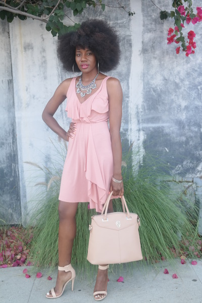 silver Zara necklace - light pink Rachel Pally dress - beige Gregory Sylvia bag