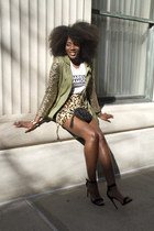 olive green sequined lotus halo jacket - black vintage bag
