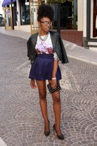black studded RD style jacket - navy bell H&M skirt - ivory floral print H&M top