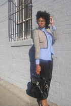 gray H&M blazer - blue H&M shirt - black JCrew bag - charcoal gray Zara heels