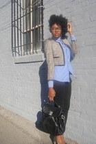 gray H&M blazer - blue H&M shirt - black JCrew bag - charcoal gray Zara heels