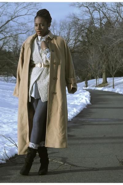 camel Ralph Lauren coat - neutral H&M sweater - periwinkle stance socks