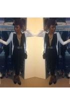black thrifted vintage bag - white H&M blazer - purple Forever 21 scarf