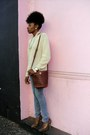 Blue-skinny-jeans-habitual-jeans-beige-h-m-sweater-tawny-goodwill-bag
