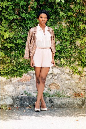 tan sequins Forever 21 jacket - light pink studded Forever 21 shorts