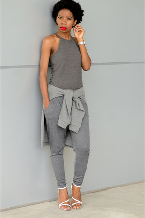 charcoal gray high neck tank Forever 21 top