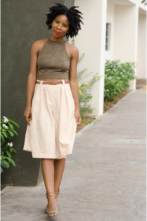 olive green crop top Missguided top - eggshell culottes Wet Seal pants