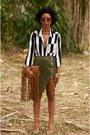 Dark-green-asymmetrical-missguided-shirt-black-striped-forever-21-blouse