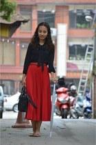 black Newlook blouse - black Zara bag