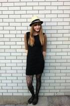black thrifted dress - black floral winners tights - Aldo flats