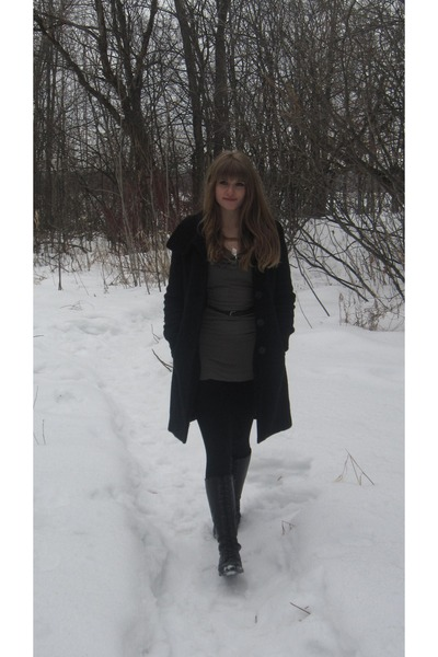long black thrifted coat - vintage boots - silver leaf Magnolia necklace