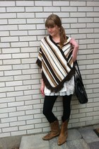 brown cowboy Aldo boots - poncho thrifted sweater - black leggings